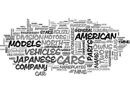 JAPANESE AUTOMAKERS Text Background Word Cloud Concept