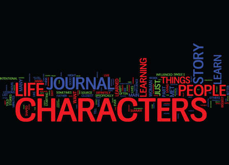 LEARN FROM THE CHARACTERS Text Background Word Cloud Concept Иллюстрация