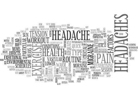 IS EXERCISE A PAIN IN YOUR HEAD Text Background Word Cloud Concept