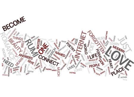 LEER OVER LIEFDE VAN DICHTER RUMI Tekstachtergrond Word Cloud Concept Stock Illustratie