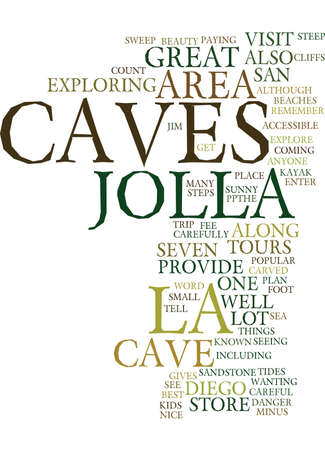 anyone: LA JOLLA CAVES Text Background Word Cloud Concept Illustration