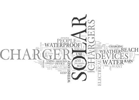 防水ソーラー充電器のテキスト背景単語クラウドの概念があります。