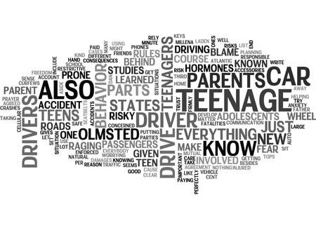 IS UW TEENAGE DRIVER SAFE Tekstachtergrond Word Cloud Concept