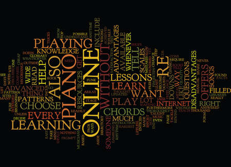 LEARN PIANO ONLINE Text Background Word Cloud Concept
