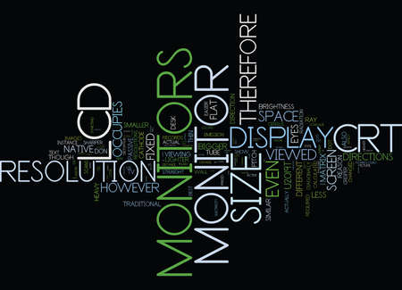 LCD VS CRT MONITOR COMPARISON Text Background Word Cloud Concept