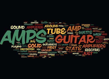 LEARN ABOUT THE GUITAR AMP AND HOW IT WORKS Text Background Word Cloud Concept