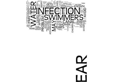 LEARN ABOUT SWIMMERS EAR Text Background Word Cloud Concept