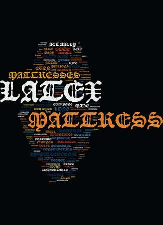 LATEX MATTRESSL Tekst Achtergrond Word Cloud Concept Stock Illustratie