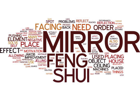LEARN HOW TO SOLVE PROBLEMS WITH A FENG SHUI MIRROR Text Background Word Cloud Concept
