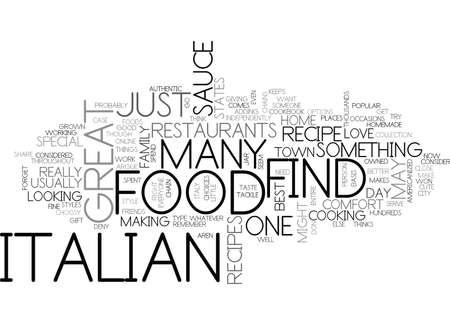 ITALIAN FOOD Text Background Word Cloud Concept Иллюстрация
