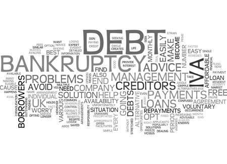 IVA INDIVIDUAL VOLUNTARY ARRANGEMENTS ALTERNATIVE TO BANKRUPTCY Text Background Word Cloud Concept Illustration