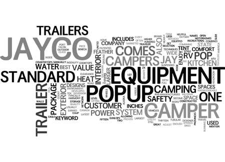 JAYCO POPUP TRAILER Text Background Word Cloud Concept Illustration