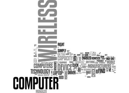 IS YOUR LAPTOP OR HOME COMPUTER WIRELESS ENABLED Text Background Word Cloud Concept