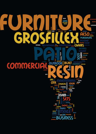 GROSFILLEX RESIN PATIO FURNITURE SETS Text Background Word Cloud Concept Illustration