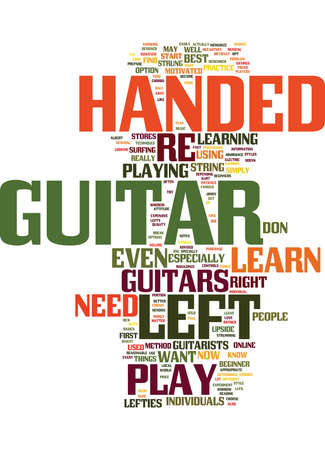 LEARN HOW TO PLAY THE GUITAR LEFT HANDED Text Background Word Cloud Concept
