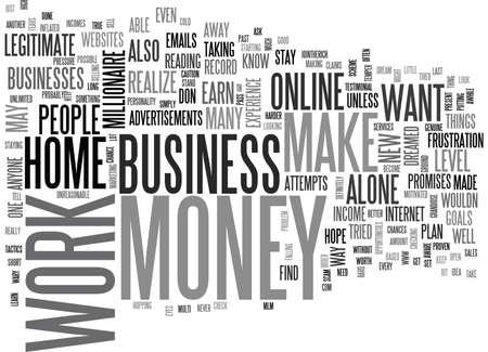 온라인으로 돈을 벌고 집에서 일할 수 있습니다. 텍스트 배경 Word Cloud Concept 일러스트