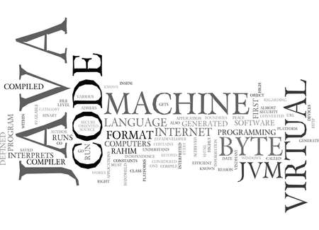 JAVA VIRTUAL MACHINE Text Background Word Cloud Concept Çizim