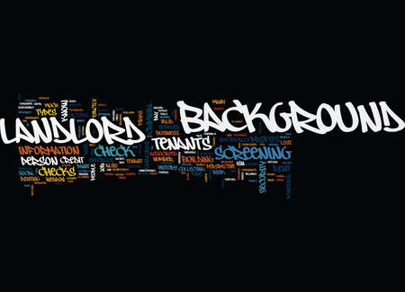 LANDLORDS SCREEN YOUR TENANTS Text Background Word Cloud Concept Çizim