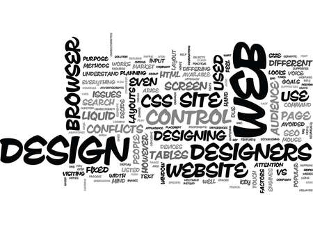ISSUES ON WEB DESIGN Text Background Word Cloud Concept Illustration