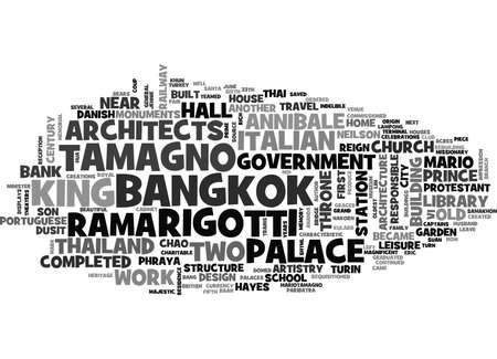 ITALIAN ARCHITECTS IN BANGKOK MONUMENTS TO THEIR ARTISTRY Text Background Word Cloud Concept Ilustração