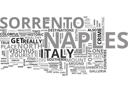 ITALY NAPLES AND SORRENTO Text Background Word Cloud Concept Иллюстрация