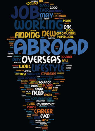 GREAT REASONS TO WORK ABROAD Text Background Word Cloud Concept