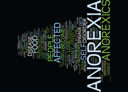 THE MALIGN EFFECTS OF ANOREXIA NERVOSA Text Background Word Cloud Concept