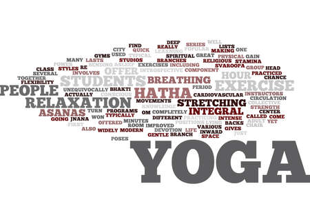 YOGA FOR MODERN CITY LIFE HATHA YOGA MOST POPULAR IN THE US Text Background Word Cloud Concept
