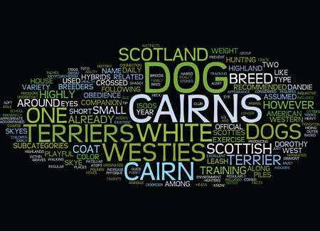 THE PLAYFUL AND INQUISITIVE DOG CAIRN TERRIER Text Background Word Cloud Concept Illustration