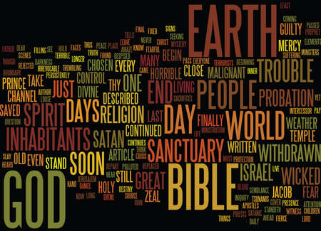 delivered: THE END OF DAYS Text Background Word Cloud Concept