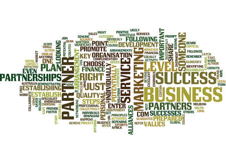 THE KEY TO SUCCESS CHOOSE THE RIGHT PARTNER Text Background Word Cloud Concept