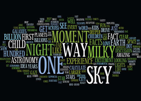 THE NIGHT SKY Text Background Word Cloud Concept Illustration