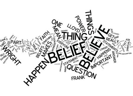 THE POWER OF BELIEF BROKEN DOWN Text Background Word Cloud Concept