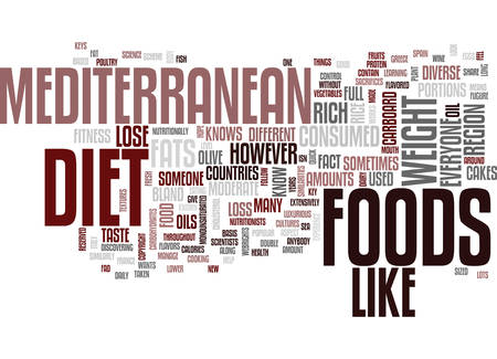 THE MEDITERRANEAN DIET FULL FLAVORED FOODS HELP YOU LOSE WEIGHT Text Background Word Cloud Concept  イラスト・ベクター素材