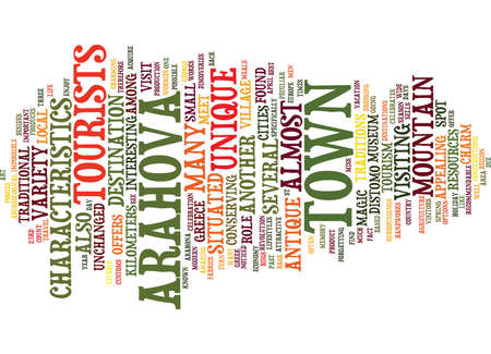 THE MOUNTAIN TOWN OF ARAHOVA Text Background Word Cloud Concept Illustration