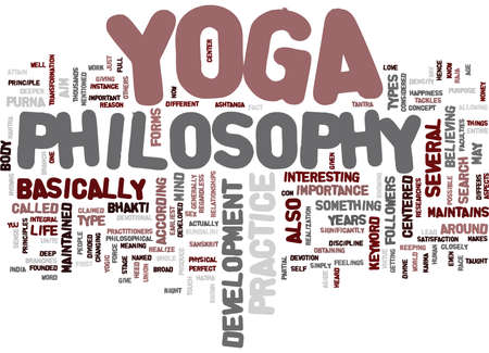 YOGA PHILOSOPHY Text Background Word Cloud Concept 矢量图像