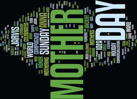 THE ORIGINS OF MOTHER S DAY Text Background Word Cloud Concept Ilustração