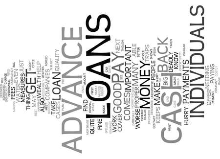 THE INSIDE SCOOP ON CASH ADVANCE LOANS Text Background Word Cloud Concept