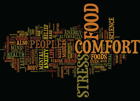 THE POSSIBLE SCIENCE BEHIND COMFORT FOOD Text Background Word Cloud Concept