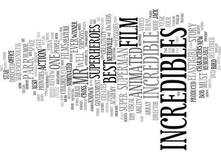 assumed: THE INCREDIBLES DVD REVIEW Text Background Word Cloud Concept