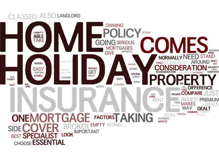 THE INS AND OUTS OF HOLIDAY HOME INSURANCE Text Background Word Cloud Concept Illustration