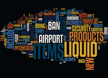 prescribed: THE NEW LIQUID BAN WHAT YOU NEED TO KNOW Text Background Word Cloud Concept