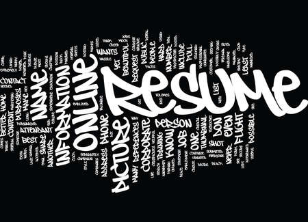 THE POWER OF AN ONLINE RESUME Text Background Word Cloud Concept