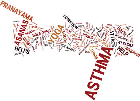YOGA FOR ASTHMA CURE Text Background Word Cloud Concept