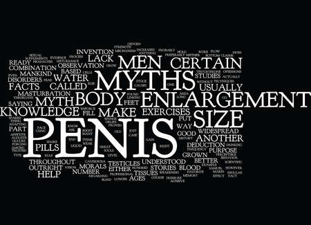 THE MYTHS OF PENIS ENLARGEMENT Text Background Word Cloud Concept Ilustração