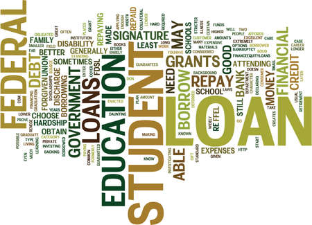 THE LOWDOWN ON STUDENT LOANS Text Background Word Cloud Concept
