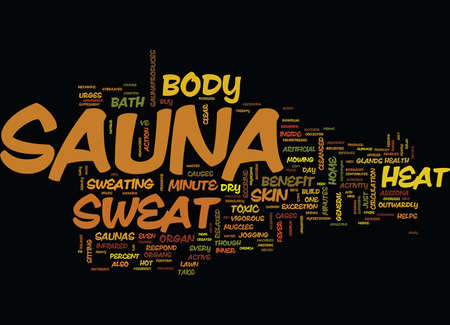 THE MINUTE SAUNA THERAPY Text Background Word Cloud Concept Illustration
