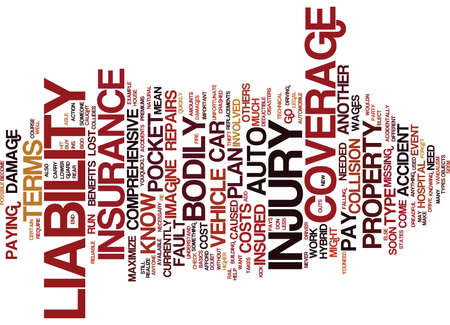 THE INS AND OUTS OF AUTO INSURANCE Text Background Word Cloud Concept