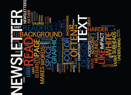 THE MOST COMMON NEWSLETTER DESIGN MISTAKES Text Background Word Cloud Concept