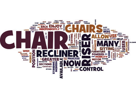 THE MODERN RISER RECLINER CHAIR Text Background Word Cloud Concept Stock Illustratie